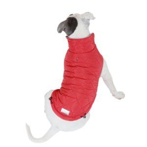 CLÖE e CLUZO reversible red quilted dog jacket